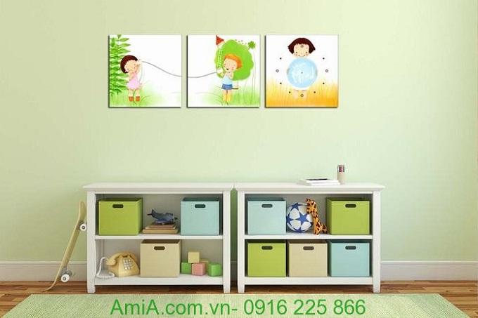 Hình ảnh Tranh đồng hồ treo tường phòng trẻ em ghép bộ
