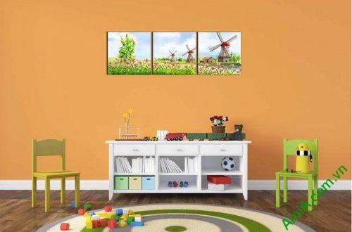 Hình ảnh Tranh ghép bộ treo tường phòng của bé đồng cối xay gió