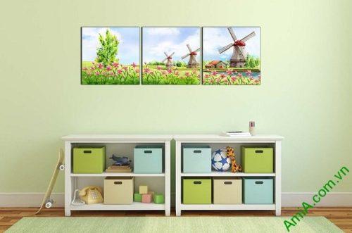 Hình ảnh Tranh ghép bộ treo tường phòng của bé vườn cối xay gió