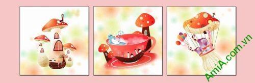 Hình ảnh Tranh ghép bộ treo tường phòng trẻ em cây nấm sắc màu