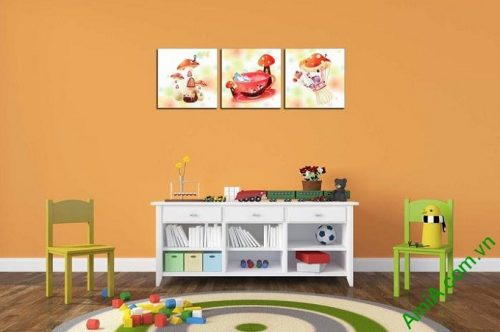 Hình ảnh Tranh ghép bộ treo tường phòng trẻ em cây nấm xinh