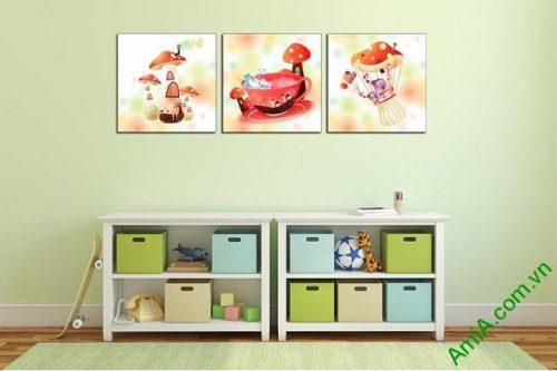 Hình ảnh Tranh ghép bộ treo tường phòng trẻ em nấm xinh