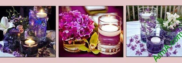 Hình ảnh Tranh ghép bộ treo tường spa nến hoa amia 729