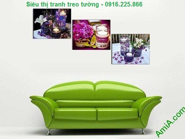 Hình ảnh Tranh ghép bộ treo tường spa nến hoa trang trí phòng khách