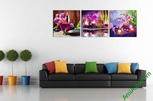 Hình ảnh mẫu Tranh ghép bộ treo tường spa sắc lan tím trang trí phòng khách