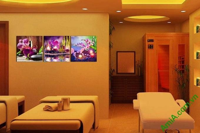Hình ảnh Tranh ghép bộ treo tường spa sắc lan tím