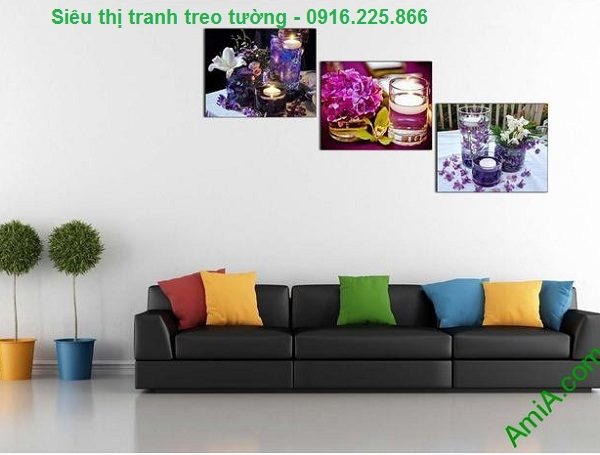 Hình ảnh Tranh ghép bộ treo tường spa nến hoa treo phòng khách hiện đại