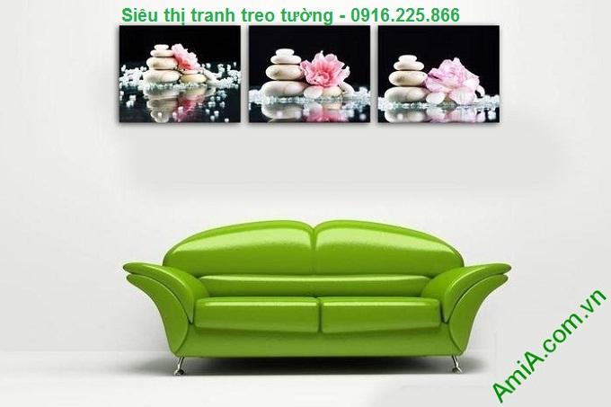 Hình ảnh Tranh hoa đá treo tường trang trí spa treo phòng khách