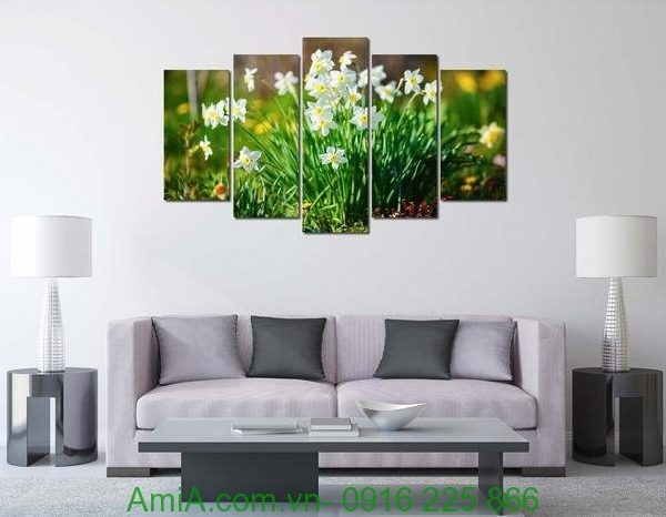 Hình ảnh Tranh hoa thủy tiên treo tường phòng khách đẹp