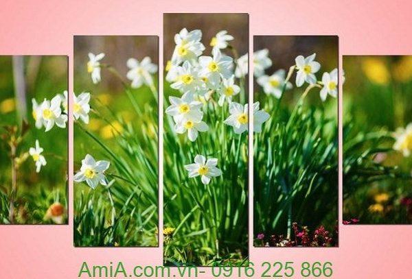 Hình ảnh Tranh hoa thủy tiên treo tường phòng khách đẹp amia 950