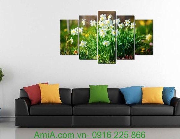 Hình ảnh Tranh hoa thủy tiên treo tường phòng khách hiện đại