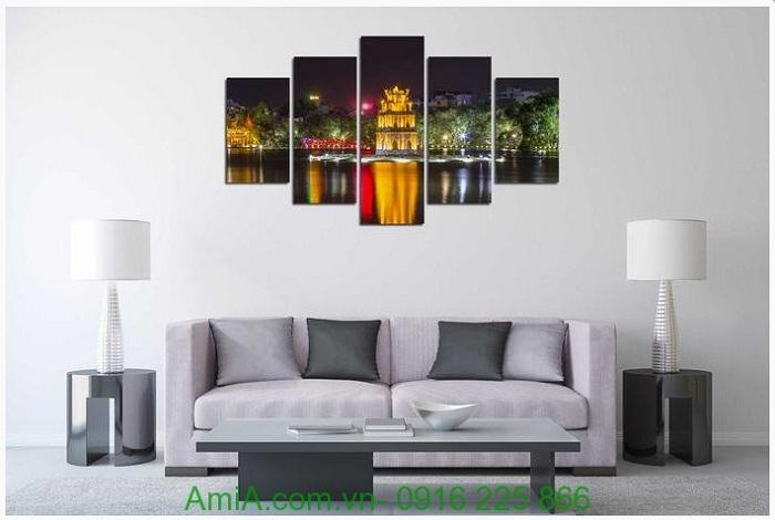 Hình ảnh tranh phong cảnh hồ gươm treo tường phòng khách