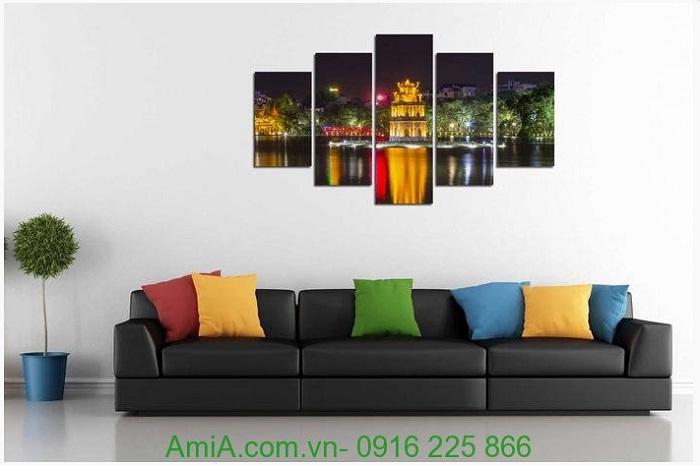 Hình ảnh tranh phong cảnh treo tường phòng khách hồ gươm