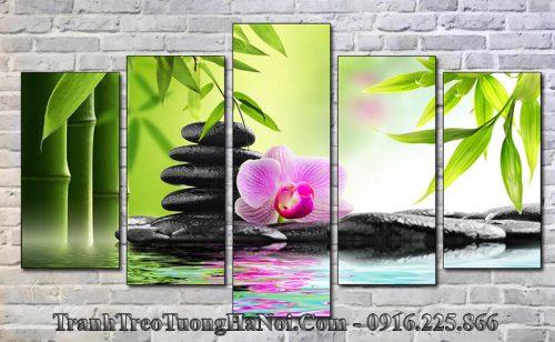 Tranh ghép 5 tấm spa hoa lan đá