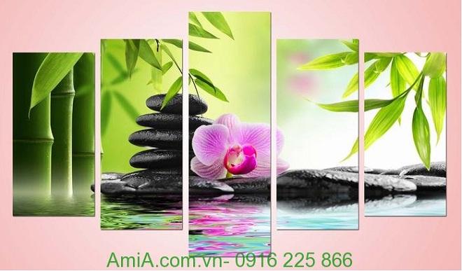 Hình ảnh mẫu Tranh treo tường khổ lớn spa đá hoa amia 942