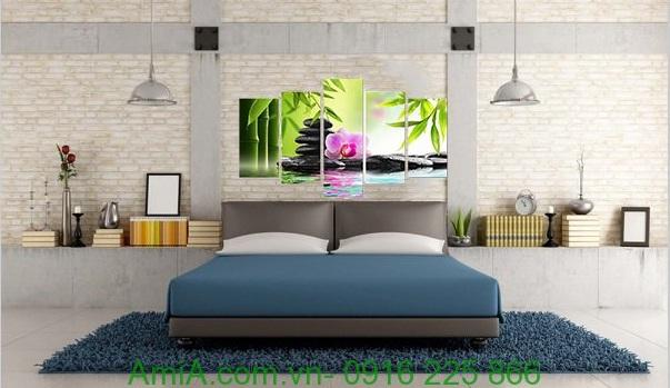 Hình ảnh mẫu Tranh treo tường khổ lớn spa đá hoa trang trí phòng ngủ