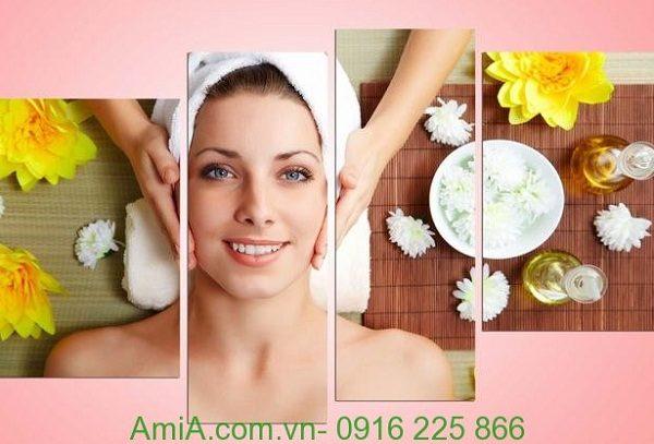 Hình ảnh mẫu Tranh treo tường spa đẹp hình cô gái dưỡng da