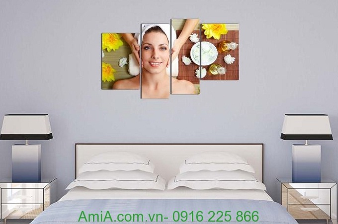 Hình ảnh Tranh treo tường spa đẹp hình cô gái dưỡng da đặt treo phòng ngủ