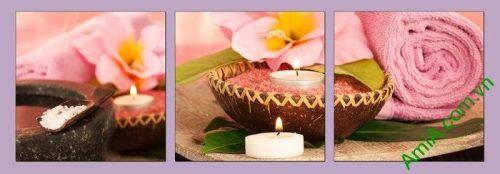 Hình ảnh Tranh treo tường spa đẹp nến khăn hồng amia 667