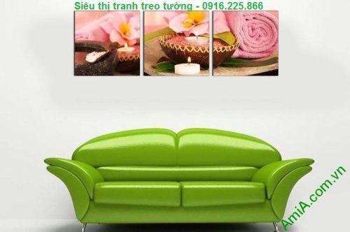 Hình ảnh Tranh treo tường spa đẹp nến khăn hồng treo phòng khách