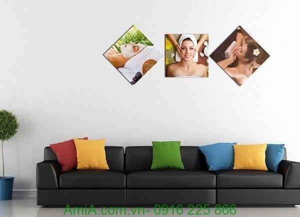 Hình ảnh mẫu Tranh treo tường spa ghép bộ hình thoi cô gái đẹp