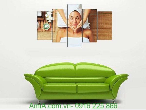 Hình ảnh Tranh treo tường spa khổ lớn hình cô gái đặt treo phòng khách