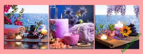 Hình ảnh Tranh treo tường spa thư thái nến hoa