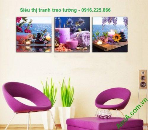 Hình ảnh Tranh treo tường spa thư thái nến hoa treo phòng khách