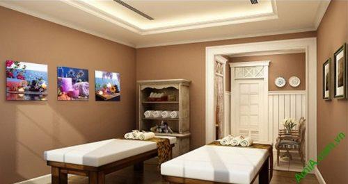 Hình ảnh Tranh treo tường spa thư thái nến hoa treo phòng massage