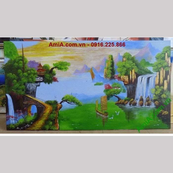 Hình ảnh tranh vẽ sơn dầu treo tường thuyền buồm doanh nhân