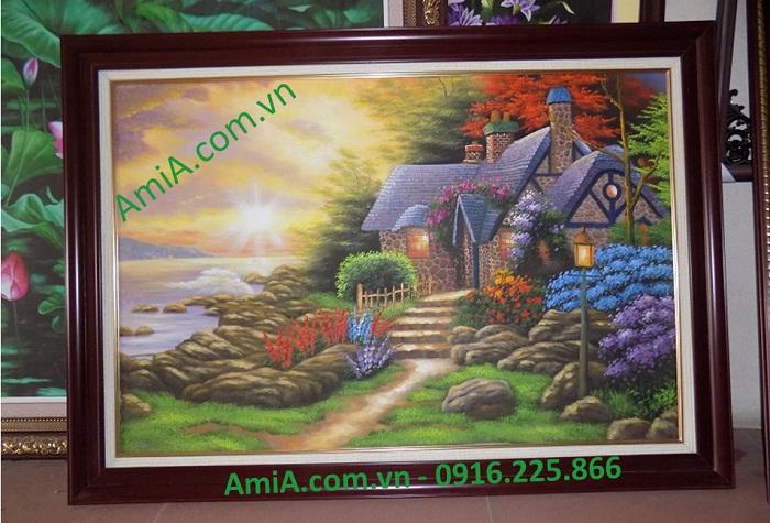 tranh son dau phong canh nuoc ngoai ngoi nha da hoa