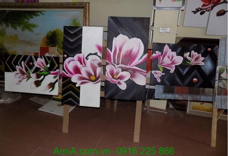 tranh ve son dau hoa moc lan