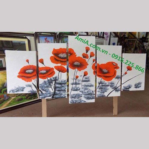 Hinh anh tranh ve son dau hoa poppy treo tuong phong khach dep