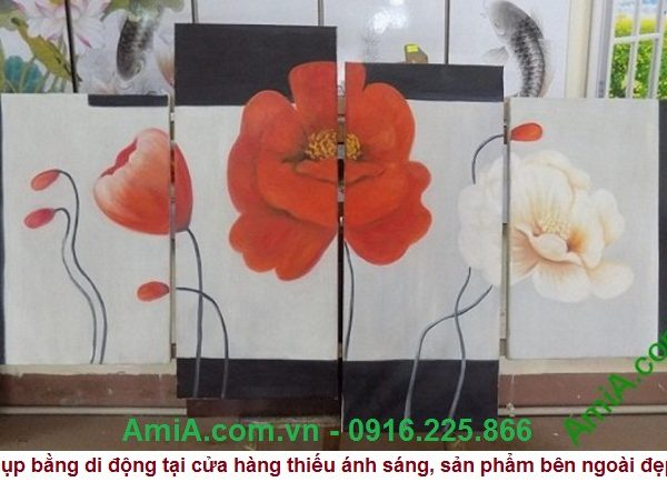 Tranh ve son dau treo tuong hoa poppy hien dai