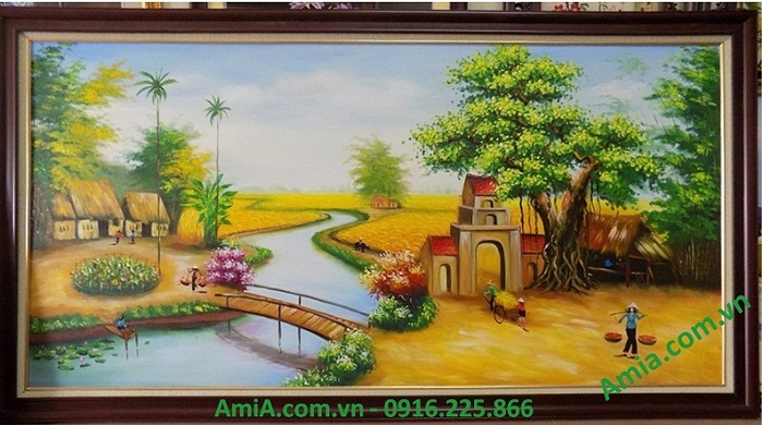 Tranh ve son dau treo tuong phong canh lang que viet nam