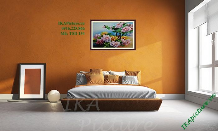 Hinh anh tranh hoa mau don ve son dau treo phong ngu tsd154
