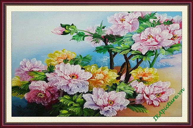 Hinh anh tranh hoa mau don ve son dau tsd154