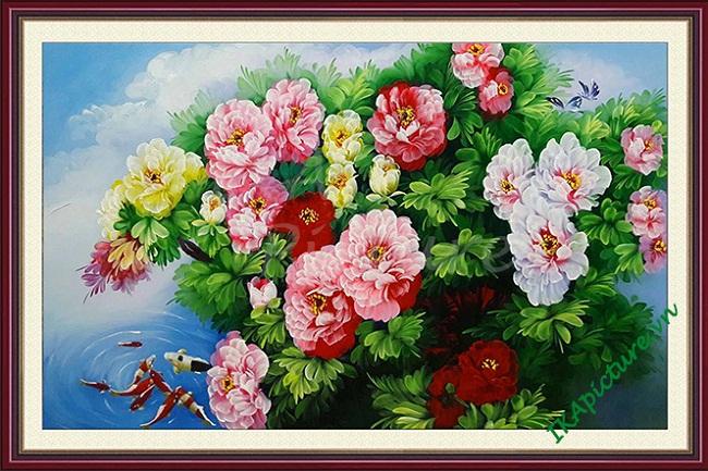 Hinh anh tranh treo tuong hoa mau don ca chep ve son dau