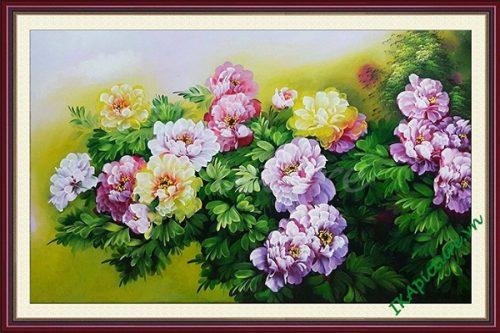 Hinh anh tranh tuong dep hoa mau don ve son dau tsd 153