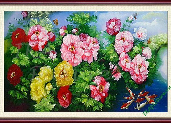 Hinh anh tranh tuong ve son dau ca chep hoa mau don amia 152