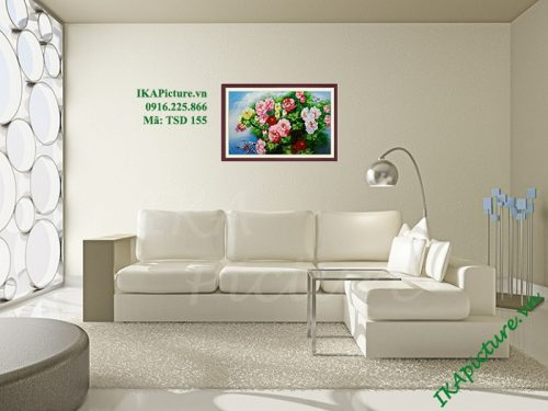 Hinh anh tranh ve son dau treo tuong hoa mau don ca chep trang tri phong khach