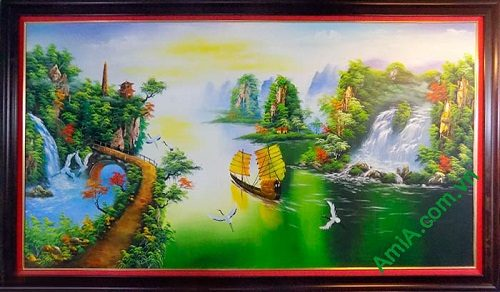 Hinh anh tranh phong thuy thuan buom xuoi gio ve son dau