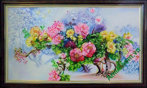 Hinh anh tranh son dau khom hoa mau don kho lon TSD157-01