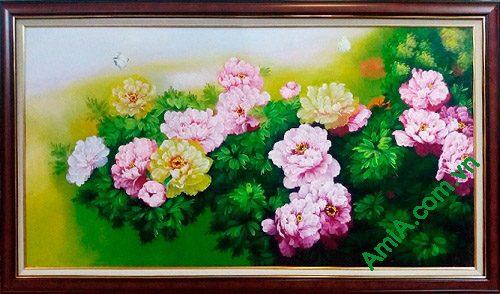 Hinh anh tranh treo tuong hoa mau don ve son dau