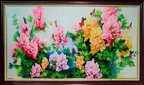 Hinh anh tranh tuong hoa mau don ve son dau dep