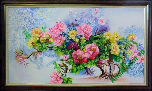 Hinh anh tranh khom hoa mau don ve son dau kho lon TSD158-01