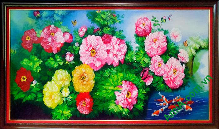 Hinh anh tranh phong thuy ve son dau hoa mau don
