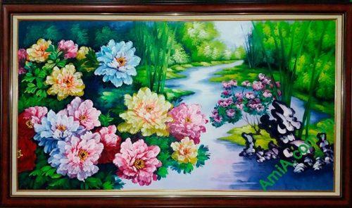 Hinh anh tranh son dau hoa mau don AmiA TSD190