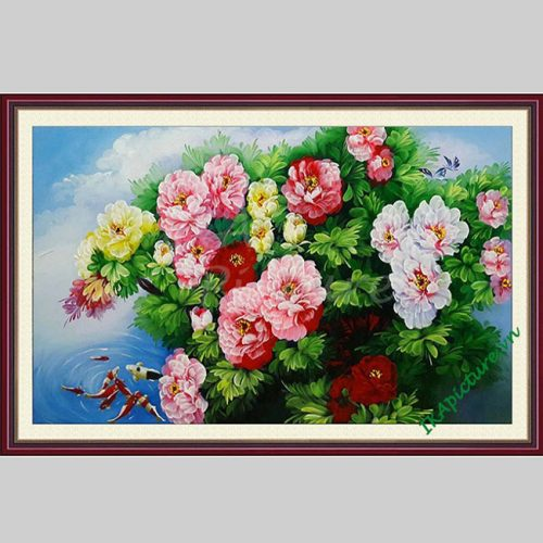 Hinh anh tranh treo tuong hoa mau don ca chep hoa sen