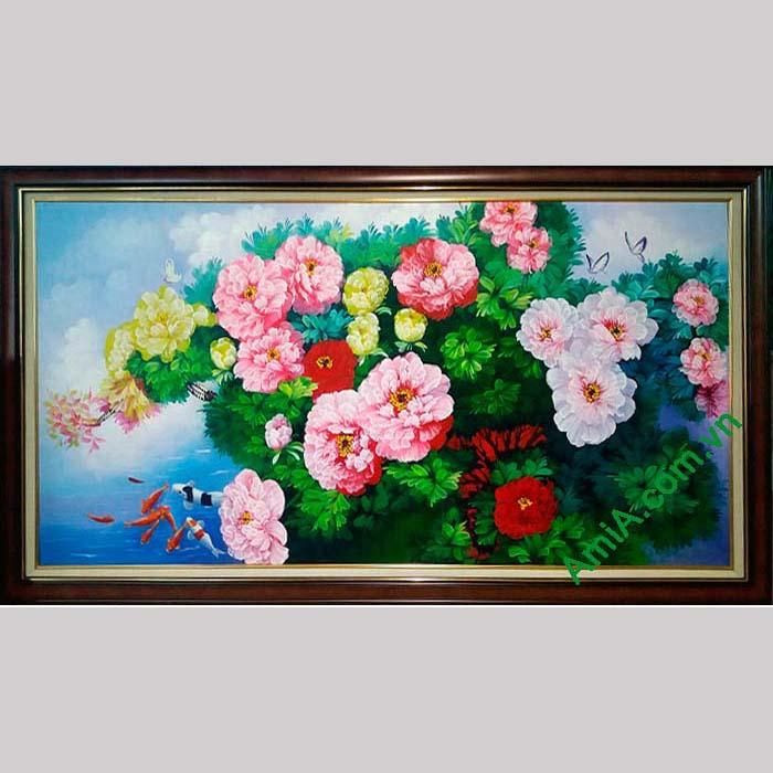 Hinh anh tranh phong thuy hoa mau don ve son dau